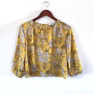 F21 Mustard Floral 3/4 Sleeve Cropped Blouse